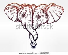 Vintage style vector elephant huggung or kissing another with trunk. Ideal love tattoo art, yoga, relationships, Indian,friendship, spirituality, boho design. Use for print, posters, t-shirts textiles