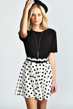 Shreya Belted Ponte Polka Dot Skater Skirt at boohoo.com
