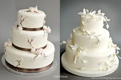 Pink and brown Dogwood cake,white winter leaf cake from Gail Watson