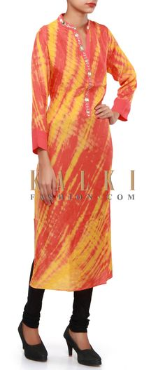 Buy Online from the link below. We ship worldwide (Free Shipping over US$100). Product SKU - 309242.Product Link - http://www.kalkifashion.com/orange-and-yellow-kurti-adorn-in-mirror-and-zari-embroidery-only-on-kalki.html