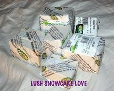 """LUSH """"Snowcake"""" Bar Soap. Take this triple-duty bar on vacation to pack light. Clenses, provides lasting fragrance and works great for shaving too!"""