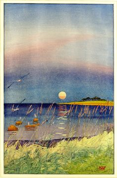William Giles: The last glint of a summer day, Vejle Fiord, Denmark, woodcut