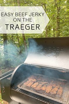 Making delicious beef jerky on the Traeger couldn't be easier. See for yourself just how easy it is! #beefjerky #jerky #homemadejerky #traeger #outdoorcooking #ketofriendly