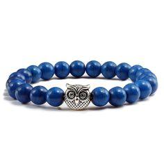 Turquoises Owl Sliver Gold Casual Beaded Bracelets - Blue Sliver