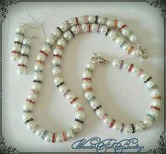 White Pearls & Multi Colored Rhinestone Choker Set