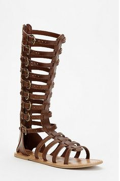7 Knee High Gladiator Sandals: Ecote Helena Tall Buckled Caged Sandals from Urban Outfitters. #Stylish365