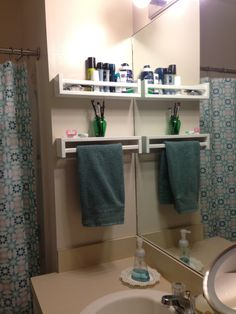 turn the spice rack upside down and it becomes a shelf plus towel rack - bekvam spice rack hand towel