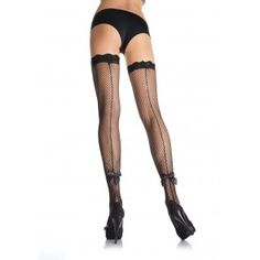 White bridal fishnet back seam thigh highs with satin bow Leg Avenue