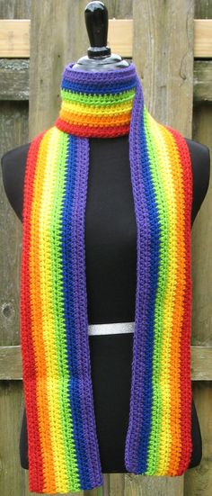Crocheted Rainbow Scarf, LGBT, Gay Pride, Great for Parades, Marches, Rallies, Dances, Festivals, Concerts, by Xasper8ing, $35.00