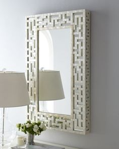 2nd Floor / On Wall Above Grey And White Chest, In The Cherise Young Girl's Bedroom / Capiz Fretwork Mirror at Neiman Marcus.