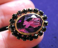 Beautiful Victorian Amethyst Glass Brooch from morningglorious on Ruby Lane