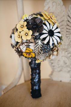 Ready To Ship Medium Modern Brooch Bouquet  Yellow by TheRitzyRose, $575.00