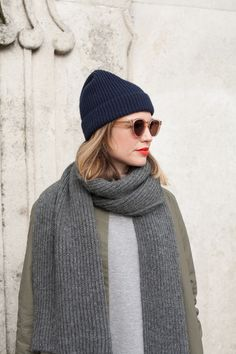 navy knit beanie, gray scarf, cool sunglasses and red lips