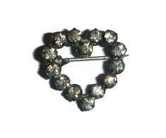 Victorian Rhinestone Heart Brooch Pin by PopcornVintageByTann