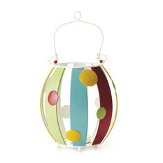 "SIMPLY SUMMER LANTERN    Brightly colored tin stripes and dots form the perfect summertime lantern. 6¾ x 7¾""    Retail Price Was $19.00  Item: 33548  $6.98 http://www.celebratinghome.com/sites/52646159"