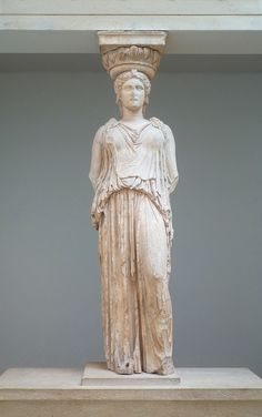 the missing 6th Caryatid, taken by Lord Elgin between 1803-05 from the South Porch of the Erechtheum (aka Erechteion), Acropolis, Athens, marble, 421-407 B.C. (British Museum, London)