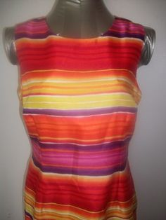 Bold and Vibrant.  Multicolor Stripe.  Fitted Sleeveless Dress by Sag Harbor.  Sz 8P.