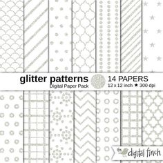 Silver glitter patterns digital paper pack, royalty free for commercial and personal use. Silver glitter basic patterns, geometric patterns,