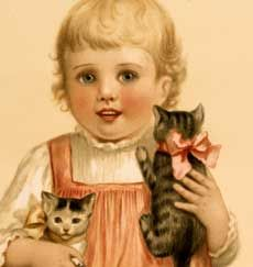 Adorable Vintage Girl with Kittens Stock Image! - The Graphics Fairy