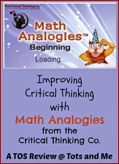 """Math Analogies Beginnings is a wonderful tool that makes learning analogies very easy. "" #hsreviews #criticalthinking #homeschool Tots and Me... Growing Up Together: Improving Critical Thinking with Math Analogies"
