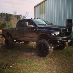Big Black Jacked Dodge Ram Mudder Truck