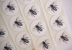 Handmade Stickers Vintage Style Bees Envelope Seals by bljgraves, $5.00