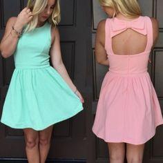 Stylish Ladies Women Sexy Sleeveless Sundress Hollow Out Bow Decor Slim Casual Party Mini Dress
