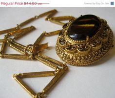 ON SALE Vintage Florenza Art Glass Filigree Pendant Brooch Necklace via Etsy