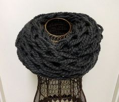 Charcoal Gray Chunky Knit Infinity Scarf by KimLKrafts on Etsy, $18.00