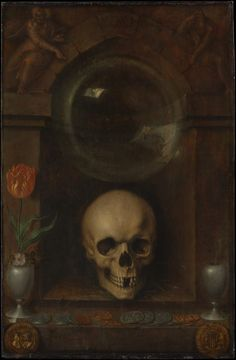 The Ambassadors by Hans Holbein the Younger Vanitas by Franciscus Gysbrechts (no date). Self-portrait With Vanitas Symbols by Giovanni Baglione (no date). The Nature as a Symbol of Vanitas . Memento Mori Art, Vanitas Paintings, Art Noir, Vanitas Vanitatum, Art Ancien, European Paintings, Canvas Prints, Art Prints, Skull Art