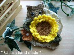 * Charin Hand made *ねこちゃんとひまわりのコサージュ - 手作り雑貨ニットのお店 ~* Charin *~