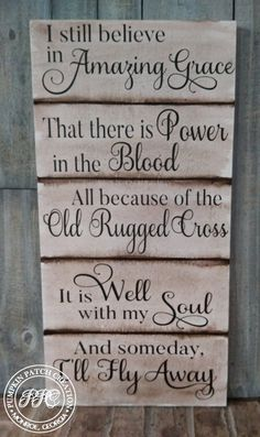 I Still Believe Sign Amazing Grace Sign Christian Hymn Sign Old Rugged Cross Sign Power In The B - Graco - Ideas of Graco - I Still Believe Sign Amazing Grace Sign Christian Hymn Sign Old Rugged Cross Sign Power In The B Diy Wood Projects, Wood Crafts, Pallet Crafts, Diy Crafts, Beach Crafts, Diy Pallet, Pallet Ideas, Vinyl Projects, Decor Crafts