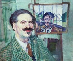 Self-portrait. 1939-40 by Evan Walters (1893-1951) This shows the two main sides of this Welsh artist's work in one painting - realism and an interest in cubism/vorticism...green checked tweed jacket with dramatic facial hair...