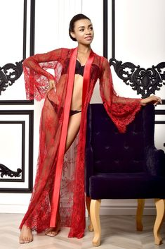 Lace Bridal Robe, Wedding Lingerie, Lace Kimono, Lace Maxi, Kimono Dressing Gown, Wedding Kimono, Bridesmaid Robes, Wedding Night, Housewife