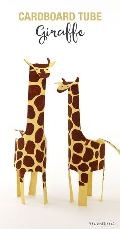 Make a fun and easy cardboard tube giraffe. This uses a simple cut and fold technique and makes a great animal craft for kids. Animal Crafts For Kids, Easy Crafts For Kids, Fun Crafts, Arts And Crafts, Cardboard Tube Crafts, Toilet Paper Roll Crafts, Paper Crafts, Cardboard Playhouse, Paper Paper