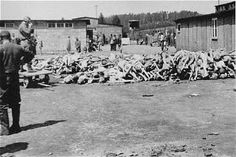A pile of corpses at the Russian Camp (Hospital Camp) section of the Mauthausen concentration camp after liberation.