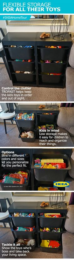 The IKEA Home Tour Squad used TROFAST storage in their living room makeover to control the clutter and help keep the kids toys in order and out of sight!