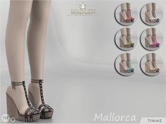 Madlen Mallorca Shoes by MJ95 at TSR via Sims 4 Updates