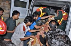ISLAMABAD: A view of relief and rescue work after a passenger plane of Bhoja Airline crashed near Lohi Bhair at Hussainabad village about 7 kms away from Benazir Bhutto International Airport carrying 118 passengers flying from Karachi to Islamabad.