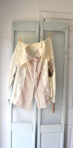 Upcycled Light  tunic top mixed media tattered by WiseSewcialTies, $59.00 etsy refashioned top cardigan lace