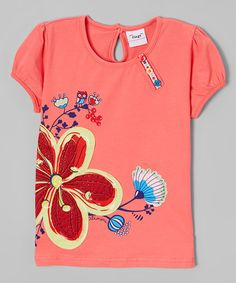 Loving this Salmon Floral Tee - Infant, Toddler & Girls on #zulily! #zulilyfinds