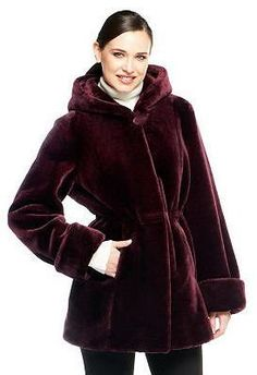 $178, Burgundy Fur Coat: Dennis Basso Faux Fur Zip Front Coat With Hood. Sold by QVC. Click for more info: https://lookastic.com/women/shop_items/132487/redirect