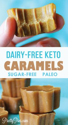 Amazing caramels made with just 5 simple ingredients! No dairy or sugar. Easy recipe that's keto paleo and vegan friendly. Amazing caramels made with just 5 simple ingredients! No dairy or sugar. Easy recipe that's keto paleo and vegan friendly. Desserts Keto, Keto Snacks, Dessert Recipes, Breakfast Recipes, Diet Breakfast, Holiday Desserts, Simple Keto Desserts, Keto Sweet Snacks, Ketogenic Breakfast