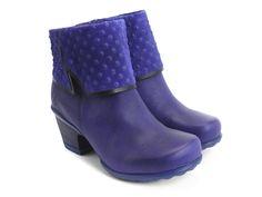 Fluevog Shoes | Shop | Esperanza (Blue) | Ankle boot with suede emboss