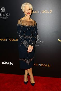 Helen Mirren Beaded Dress - Helen Mirren looked as classy as ever in a bedazzled blue sheer-panel dress by Badgley Mischka at the 'Woman in Gold' premiere.