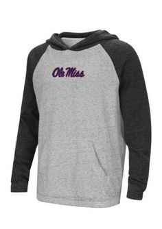 Colosseum Athletics Ole Miss Rebels Youth Raglan Long Sleeve Tee Boys 8-20 - Mississippi Black - Large 14-16