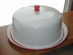 Vintage Red & White Enamel cake plate/dome