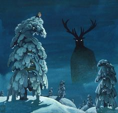 What's out there? #night #snow #reindeer by Yvan Duque