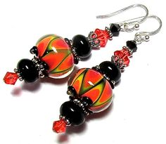 Handmade Glass Lampwork Earrings with Artisan Halloween Color Lampwork Beads, Swarovski Crystal, Sterling Silver Earwires, and Onyx Beads