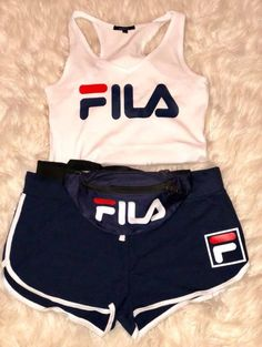 Image of fila set summer outfits fila outfit, fashion outfits, sporty o Chill Outfits, Swag Outfits, Nike Outfits, Cute Summer Outfits, Sport Outfits, Casual Outfits, Nike Pro Outfit, Cute Sporty Outfits, Outfit Ideas For Teen Girls
